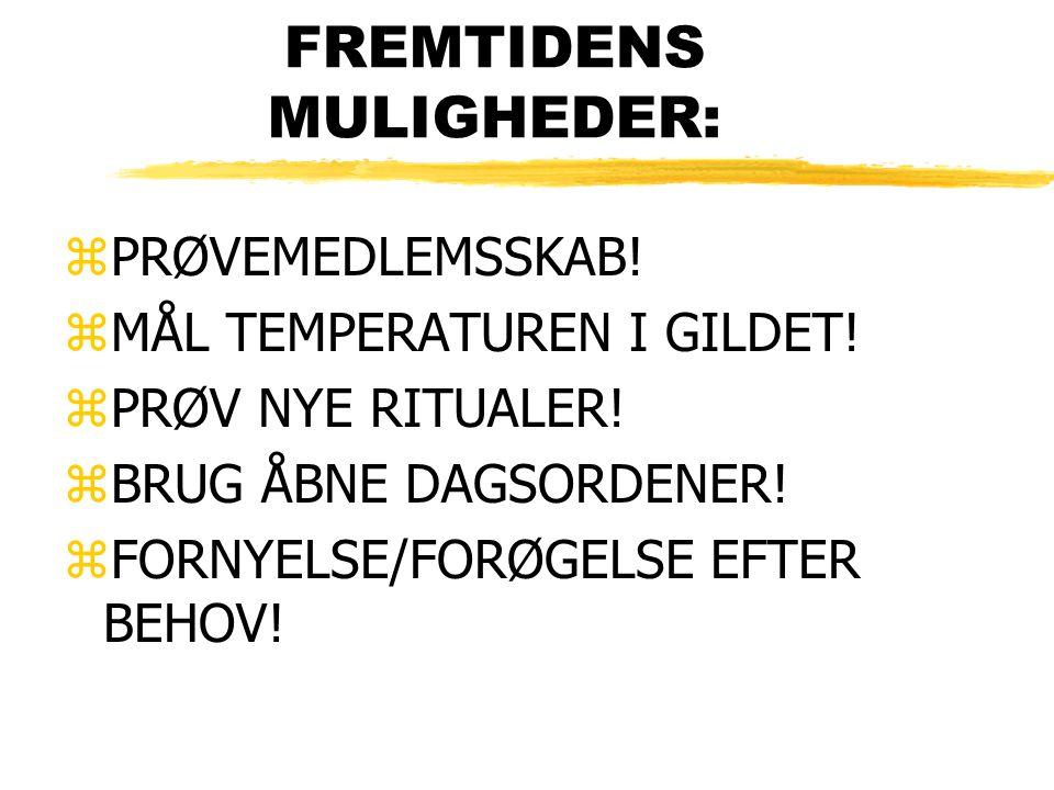 FREMTIDENS MULIGHEDER: zPRØVEMEDLEMSSKAB. zMÅL TEMPERATUREN I GILDET.