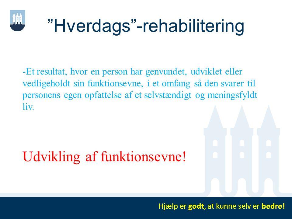 """""""Hverdags""""-rehabilitering Hjælp er godt, at kunne selv er bedre! -Et resultat, hvor en person har genvundet, udviklet eller vedligeholdt sin funktions"""