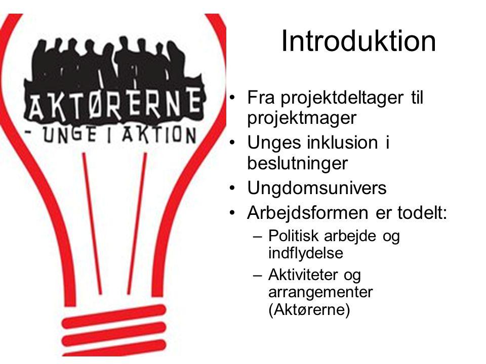 Introduktion Fra projektdeltager til projektmager Unges inklusion i beslutninger Ungdomsunivers Arbejdsformen er todelt: –Politisk arbejde og indflydelse –Aktiviteter og arrangementer (Aktørerne)