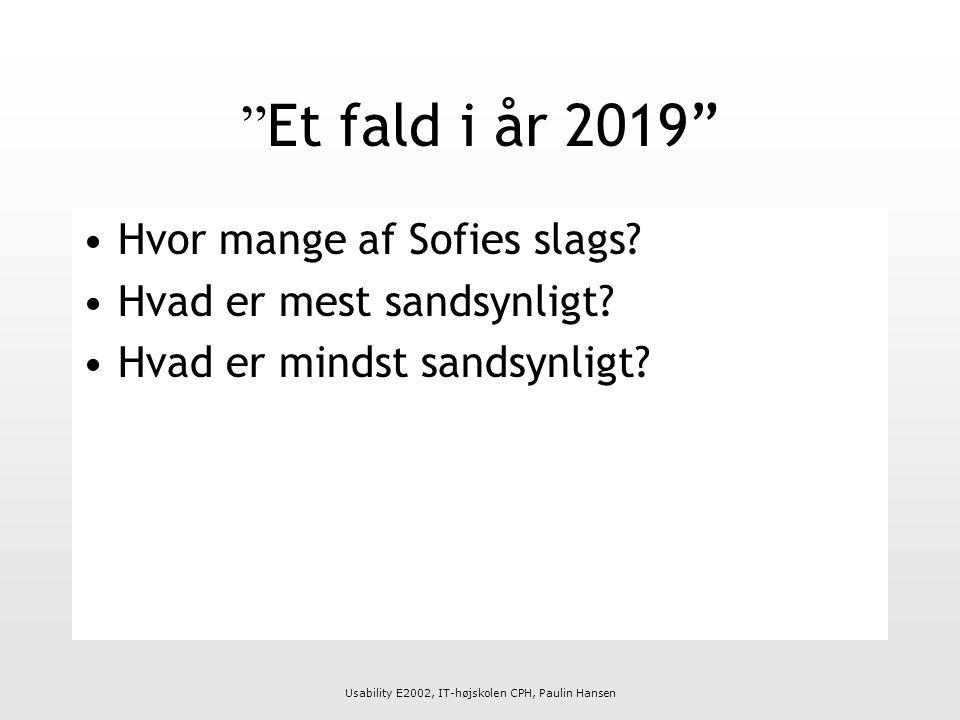 Usability E2002, IT-højskolen CPH, Paulin Hansen Et fald i år 2019 Hvor mange af Sofies slags.