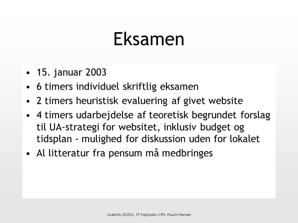 Usability E2002, IT-højskolen CPH, Paulin Hansen Eksamen 15.