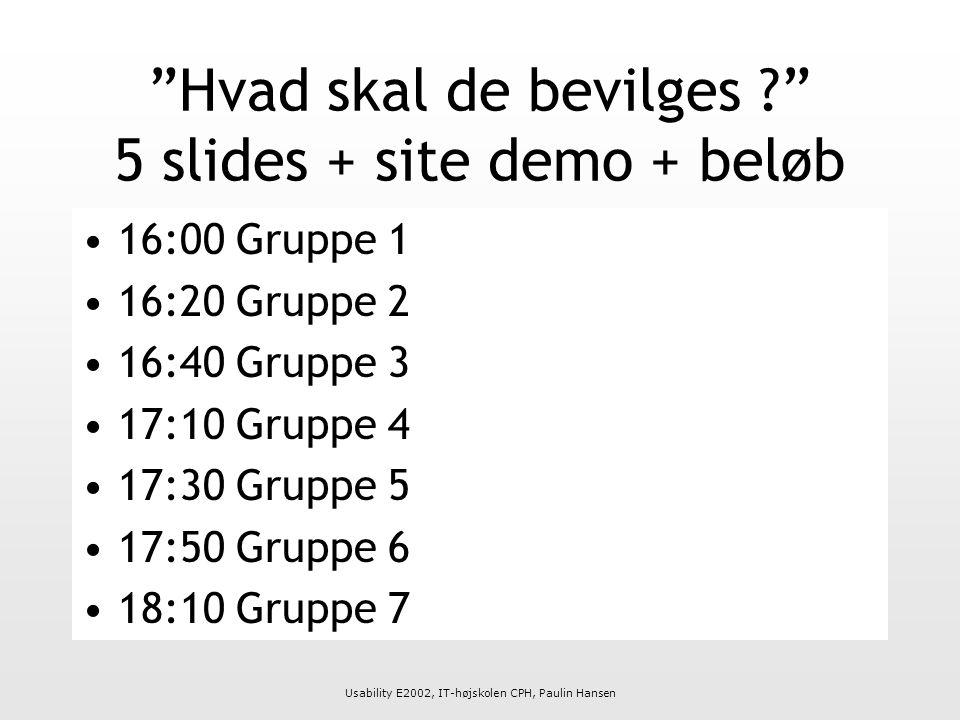 Usability E2002, IT-højskolen CPH, Paulin Hansen Hvad skal de bevilges 5 slides + site demo + beløb 16:00 Gruppe 1 16:20 Gruppe 2 16:40 Gruppe 3 17:10 Gruppe 4 17:30 Gruppe 5 17:50 Gruppe 6 18:10 Gruppe 7