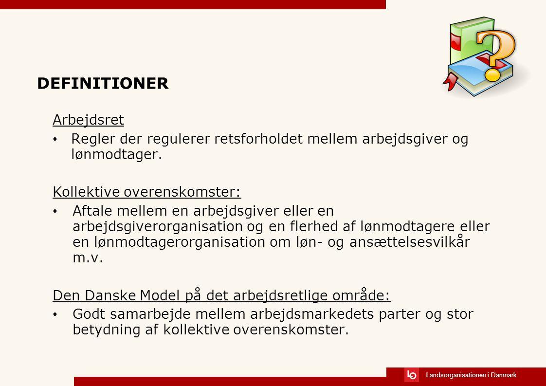 Landsorganisationen i Danmark DEFINITIONER Arbejdsret Regler der regulerer retsforholdet mellem arbejdsgiver og lønmodtager.