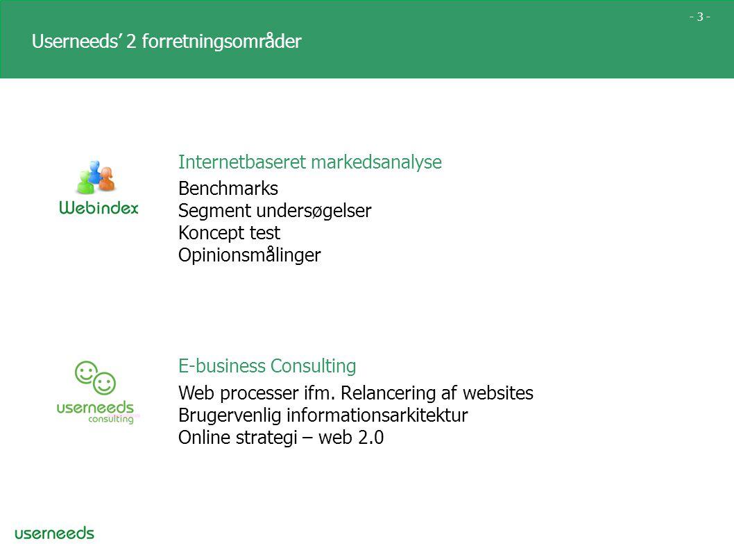 - 3 - Userneeds' 2 forretningsområder Internetbaseret markedsanalyse Benchmarks Segment undersøgelser Koncept test Opinionsmålinger E-business Consulting Web processer ifm.