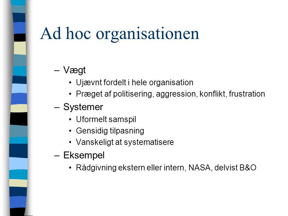 Ad hoc organisationen –Vægt Ujævnt fordelt i hele organisation Præget af politisering, aggression, konflikt, frustration –Systemer Uformelt samspil Ge
