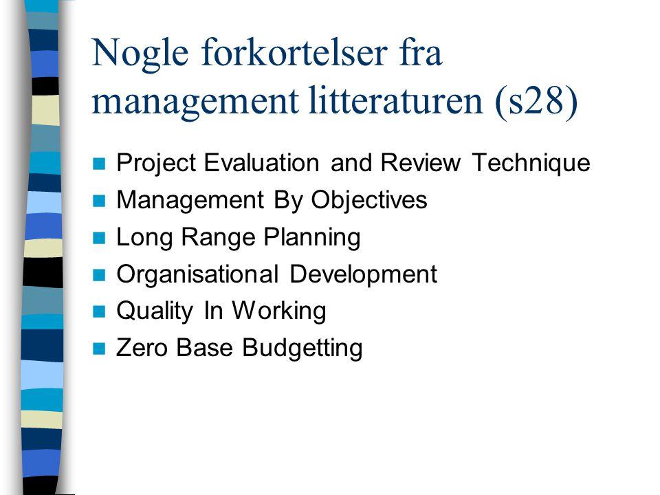 Nogle forkortelser fra management litteraturen (s28) Project Evaluation and Review Technique Management By Objectives Long Range Planning Organisation