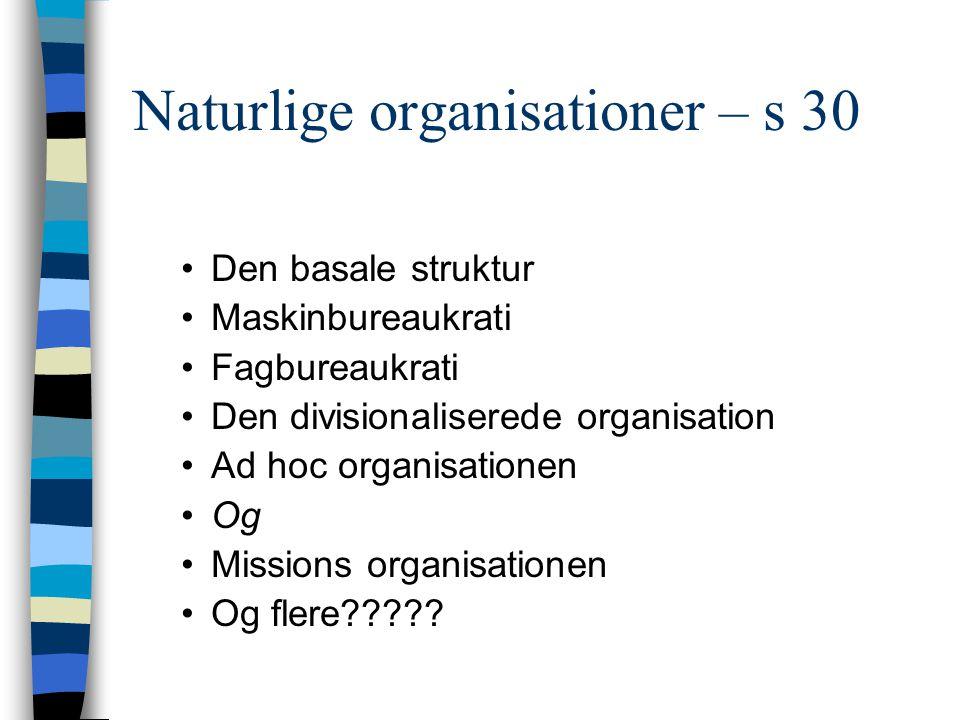 Naturlige organisationer – s 30 Den basale struktur Maskinbureaukrati Fagbureaukrati Den divisionaliserede organisation Ad hoc organisationen Og Missi