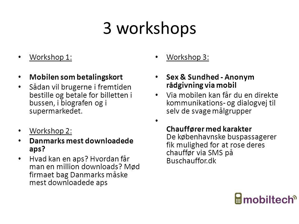 3 workshops Workshop 1: Mobilen som betalingskort Sådan vil brugerne i fremtiden bestille og betale for billetten i bussen, i biografen og i supermarkedet.
