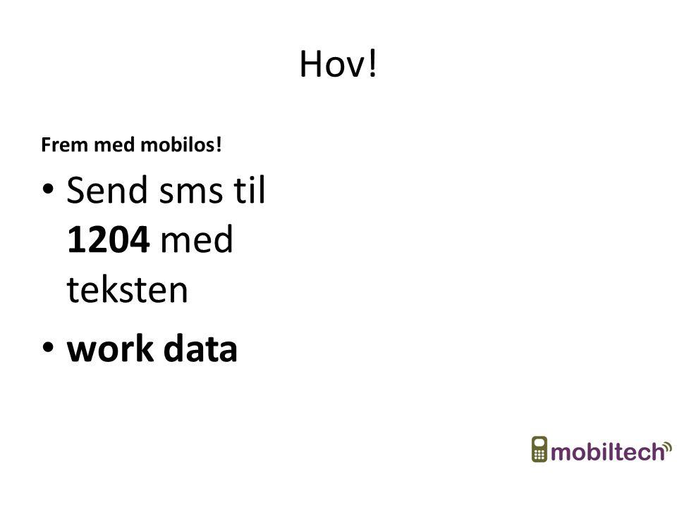 Hov! Frem med mobilos! Send sms til 1204 med teksten work data