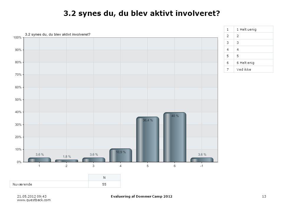 21.05.2012 09:43 www.questback.com Evaluering af Dommer Camp 201213 3.2 synes du, du blev aktivt involveret.