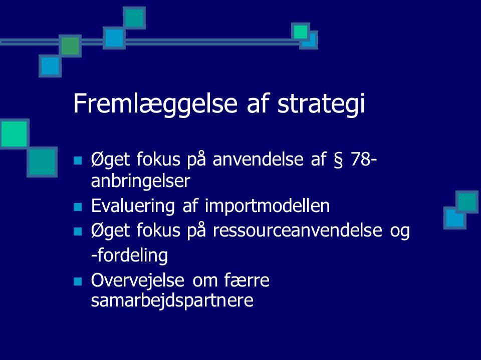 Fremlæggelse af strategi Øget fokus på anvendelse af § 78- anbringelser Evaluering af importmodellen Øget fokus på ressourceanvendelse og -fordeling Overvejelse om færre samarbejdspartnere