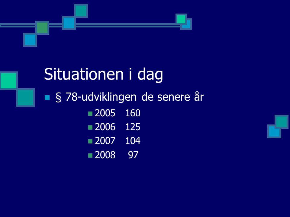 Situationen i dag § 78-udviklingen de senere år 2005 160 2006 125 2007 104 2008 97