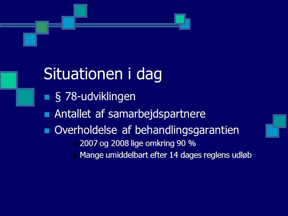Situationen i dag § 78-udviklingen Antallet af samarbejdspartnere Overholdelse af behandlingsgarantien 2007 og 2008 lige omkring 90 % Mange umiddelbart efter 14 dages reglens udløb