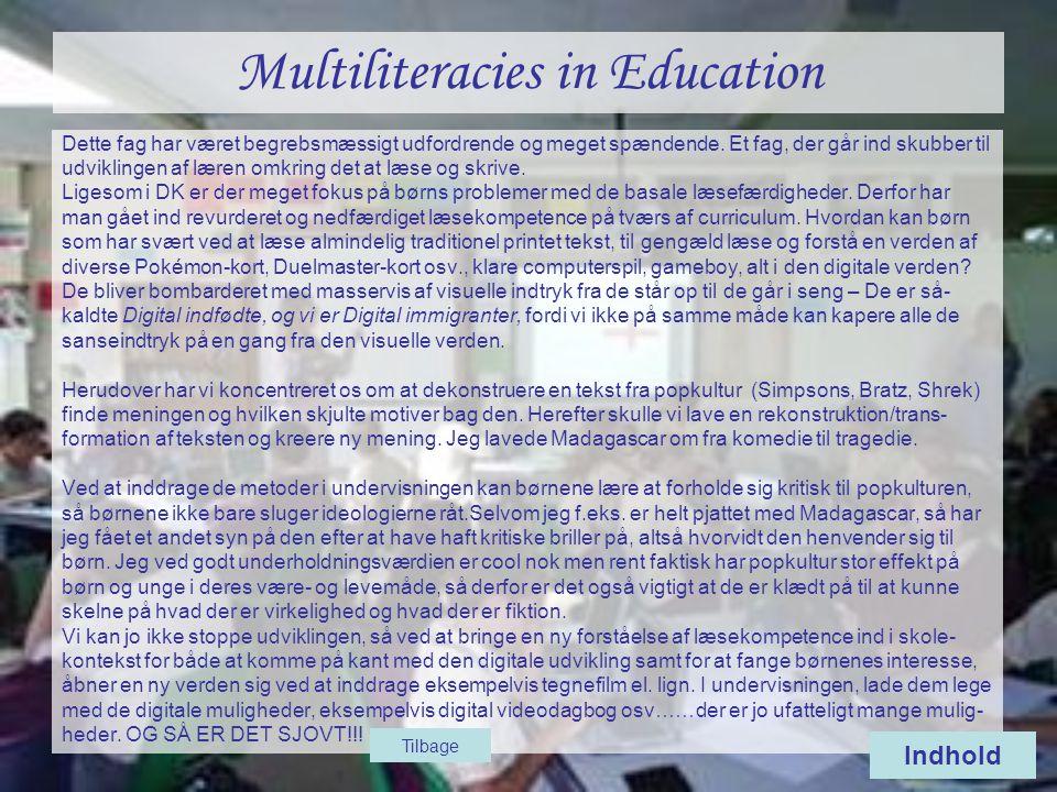 Multiliteracies in Education Dette fag har været begrebsmæssigt udfordrende og meget spændende.