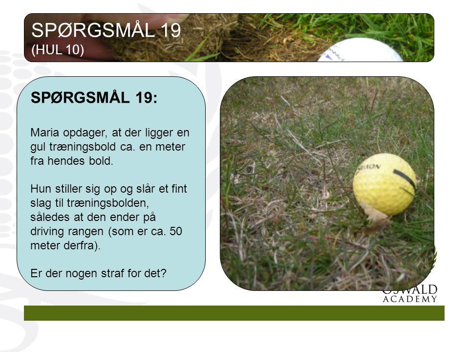 SPØRGSMÅL 19: Maria opdager, at der ligger en gul træningsbold ca.