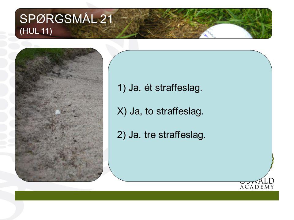 1) Ja, ét straffeslag. X) Ja, to straffeslag. 2) Ja, tre straffeslag. SPØRGSMÅL 21 (HUL 11)