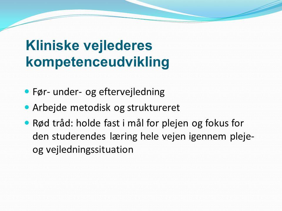 Kliniske vejlederes kompetenceudvikling Før- under- og eftervejledning Arbejde metodisk og struktureret Rød tråd: holde fast i mål for plejen og fokus for den studerendes læring hele vejen igennem pleje- og vejledningssituation