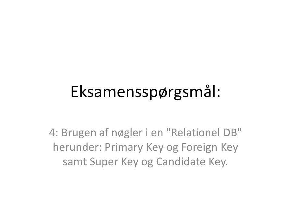 Eksamensspørgsmål: 4: Brugen af nøgler i en Relationel DB herunder: Primary Key og Foreign Key samt Super Key og Candidate Key.