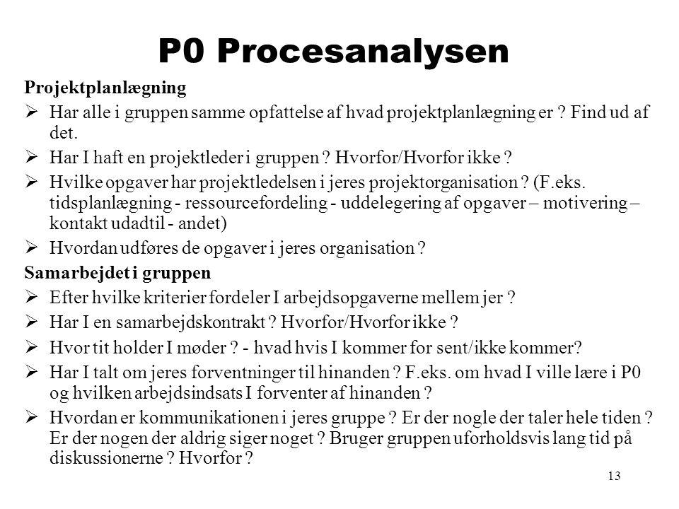 13 P0 Procesanalysen Projektplanlægning  Har alle i gruppen samme opfattelse af hvad projektplanlægning er ? Find ud af det.  Har I haft en projektl