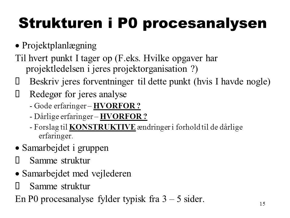 15 Strukturen i P0 procesanalysen  Projektplanlægning Til hvert punkt I tager op (F.eks. Hvilke opgaver har projektledelsen i jeres projektorganisat