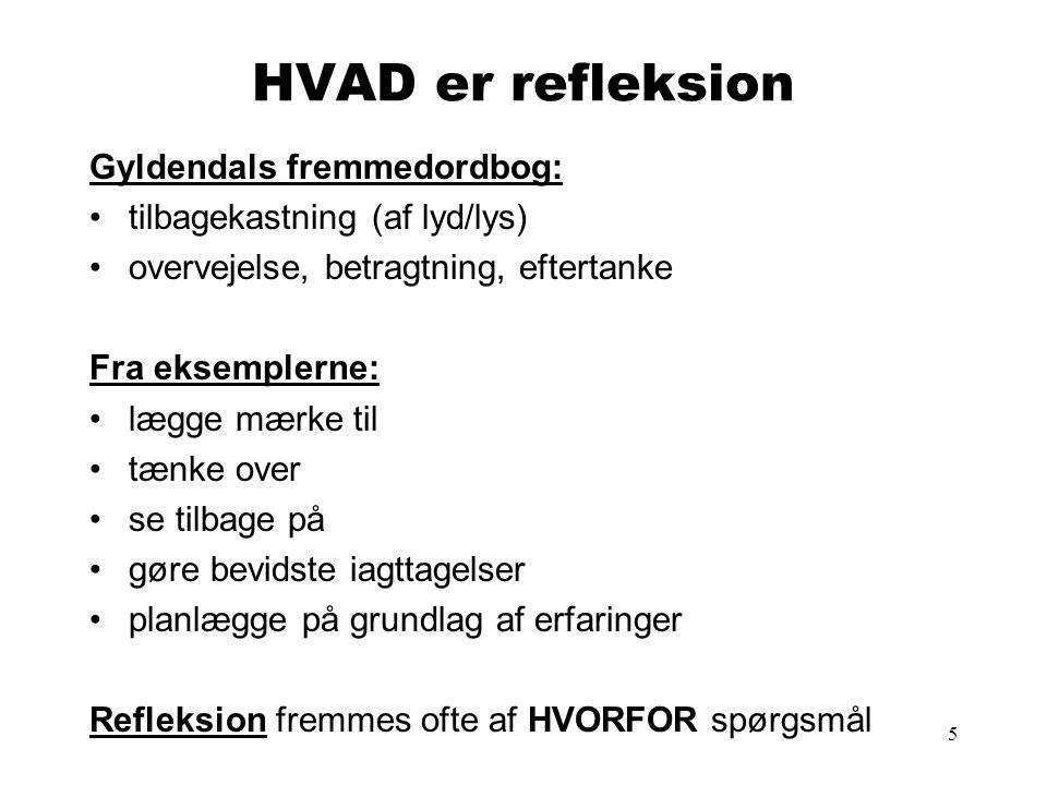5 HVAD er refleksion Gyldendals fremmedordbog: tilbagekastning (af lyd/lys) overvejelse, betragtning, eftertanke Fra eksemplerne: lægge mærke til tænk