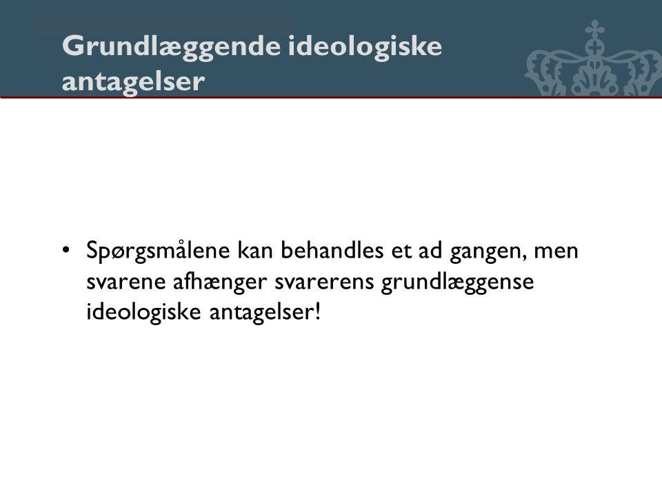 Danmarks Biblioteksskole Grundlæggende ideologiske antagelser Spørgsmålene kan behandles et ad gangen, men svarene afhænger svarerens grundlæggense ideologiske antagelser!