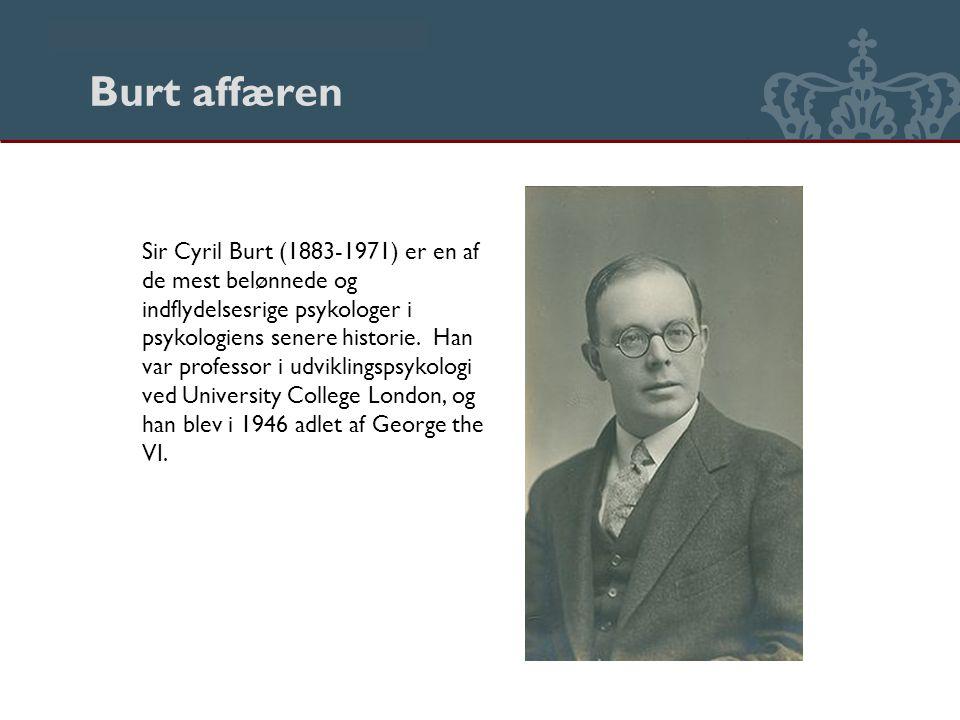 Danmarks Biblioteksskole Burt affæren Sir Cyril Burt (1883-1971) er en af de mest belønnede og indflydelsesrige psykologer i psykologiens senere historie.