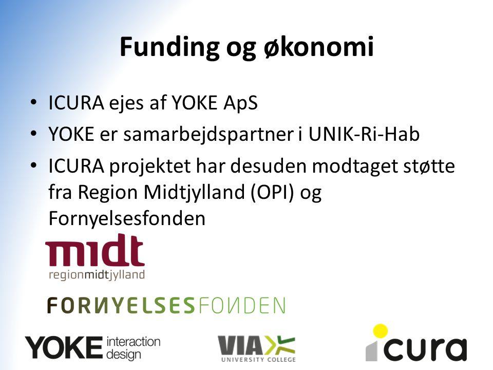 Funding og økonomi ICURA ejes af YOKE ApS YOKE er samarbejdspartner i UNIK-Ri-Hab ICURA projektet har desuden modtaget støtte fra Region Midtjylland (OPI) og Fornyelsesfonden