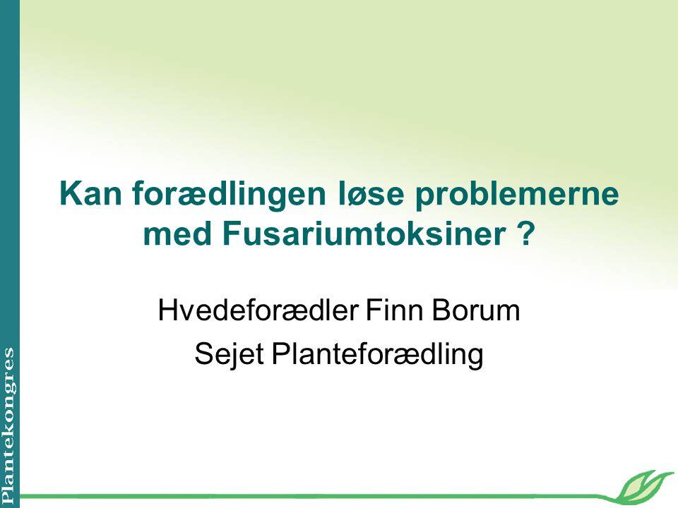 Kan forædlingen løse problemerne med Fusariumtoksiner .