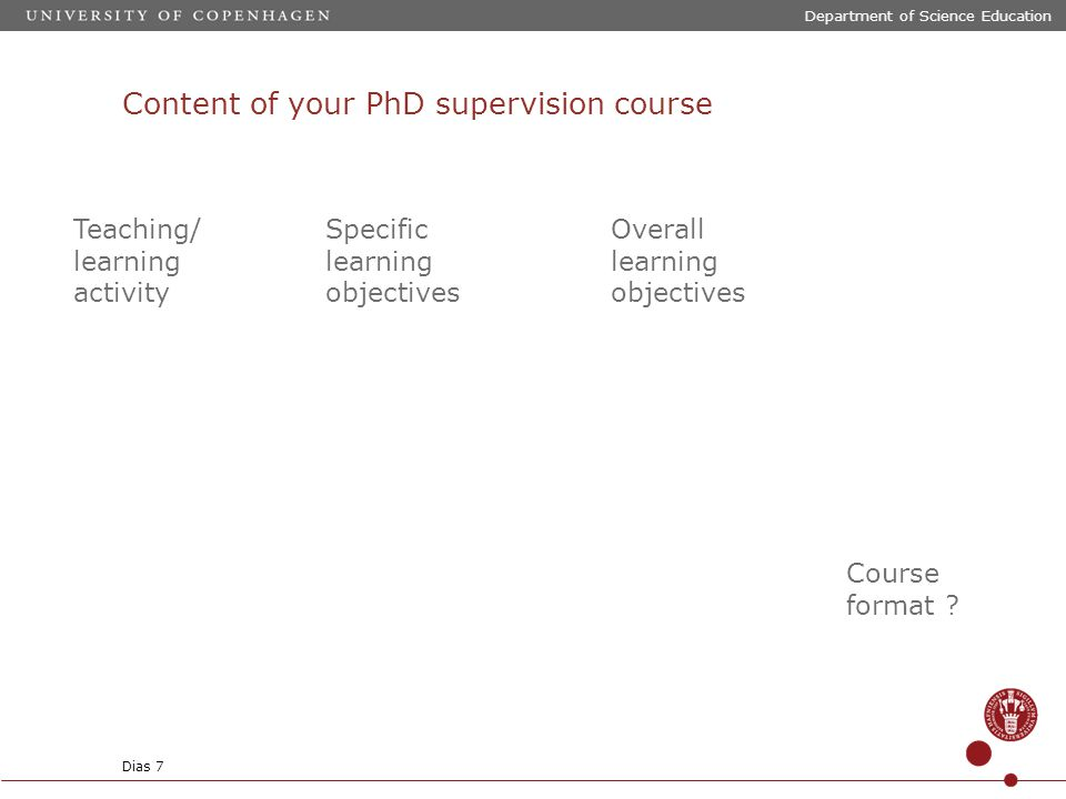Content of your PhD supervision course Department of Science Education Dias 7 Teaching/ learning activity Specific learning objectives Overall learning objectives Course format