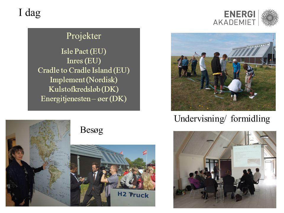 I dag Undervisning/ formidling Besøg Projekter Isle Pact (EU) Inres (EU) Cradle to Cradle Island (EU) Implement (Nordisk) Kulstofkredsløb (DK) Energitjenesten – øer (DK)