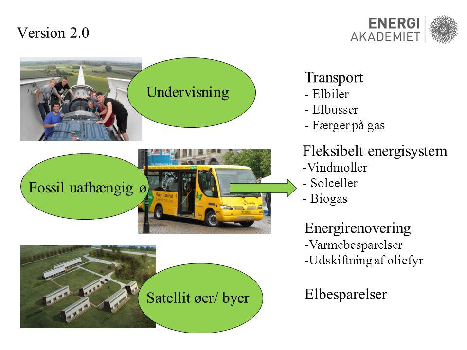 Version 2.0 Undervisning Fossil uafhængig ø Satellit øer/ byer Transport - Elbiler - Elbusser - Færger på gas Energirenovering -Varmebesparelser -Udskiftning af oliefyr Fleksibelt energisystem -Vindmøller - Solceller - Biogas Elbesparelser