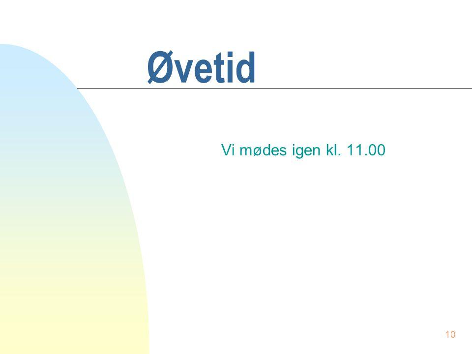 9 Hovedprogrammet void main(void) { int list[MAXSIZE]; int ant = 0; int tal; printf( \nIndtast et tal, 0 afslutter\n ); do { printf( Indtast et tal: ); scanf( %d , &list[ant]); } while ( list[ant++] != 0 ); sort(list,--ant); for (tal=0; tal<ant; tal++) printf( %d\n , list[tal]); }