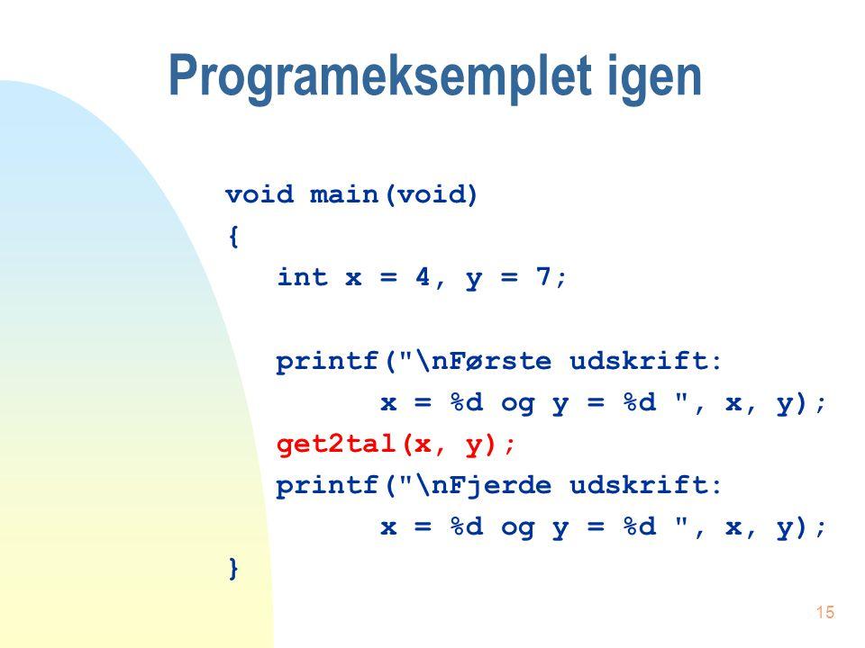 14 Proceduren - get2tal() void get2tal(int xx, int yy) { int temp; printf( \nAnden udskrift: xx = %d og yy = %d , xx, yy); temp = xx; xx = yy; yy = temp; printf( \nTredie udskrift: xx = %d og yy = %d , xx, yy); }