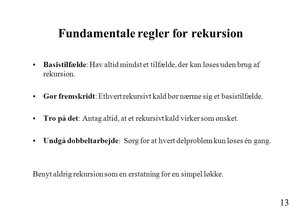 13 Fundamentale regler for rekursion Basistilfælde: Hav altid mindst et tilfælde, der kan løses uden brug af rekursion.