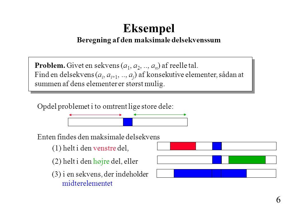 6 Eksempel Beregning af den maksimale delsekvenssum Problem.