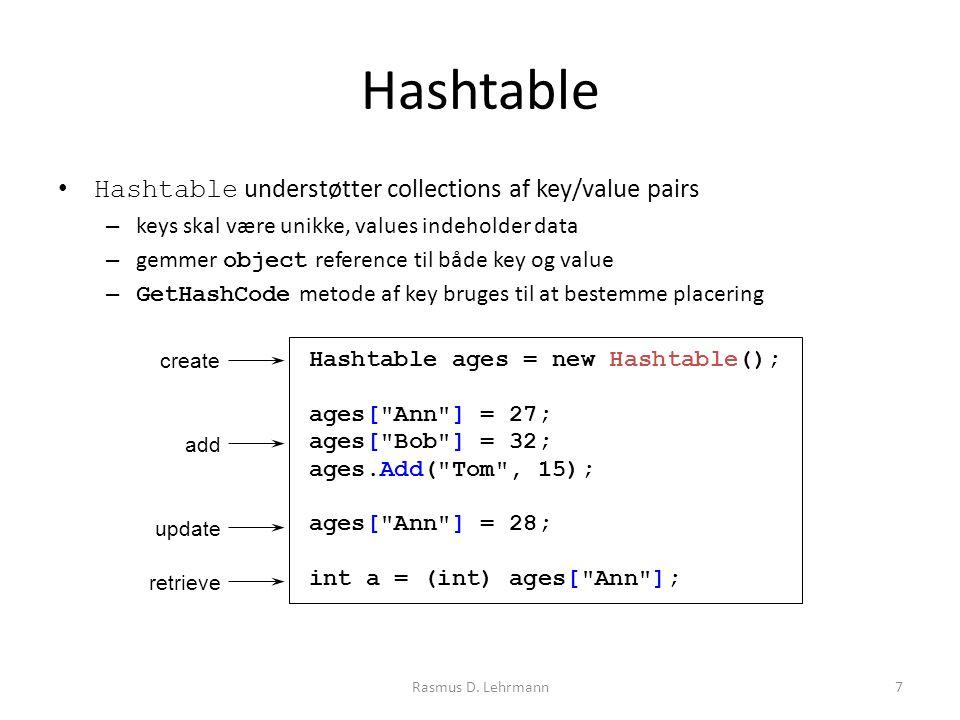 Hashtable Hashtable understøtter collections af key/value pairs – keys skal være unikke, values indeholder data – gemmer object reference til både key og value – GetHashCode metode af key bruges til at bestemme placering Rasmus D.
