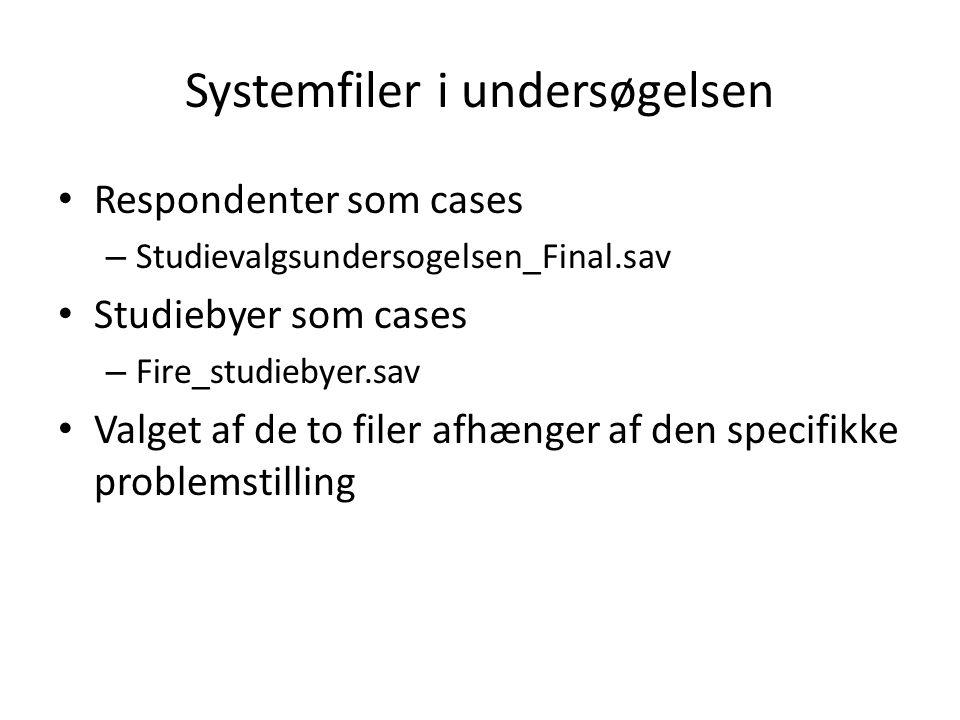 Systemfiler i undersøgelsen Respondenter som cases – Studievalgsundersogelsen_Final.sav Studiebyer som cases – Fire_studiebyer.sav Valget af de to filer afhænger af den specifikke problemstilling