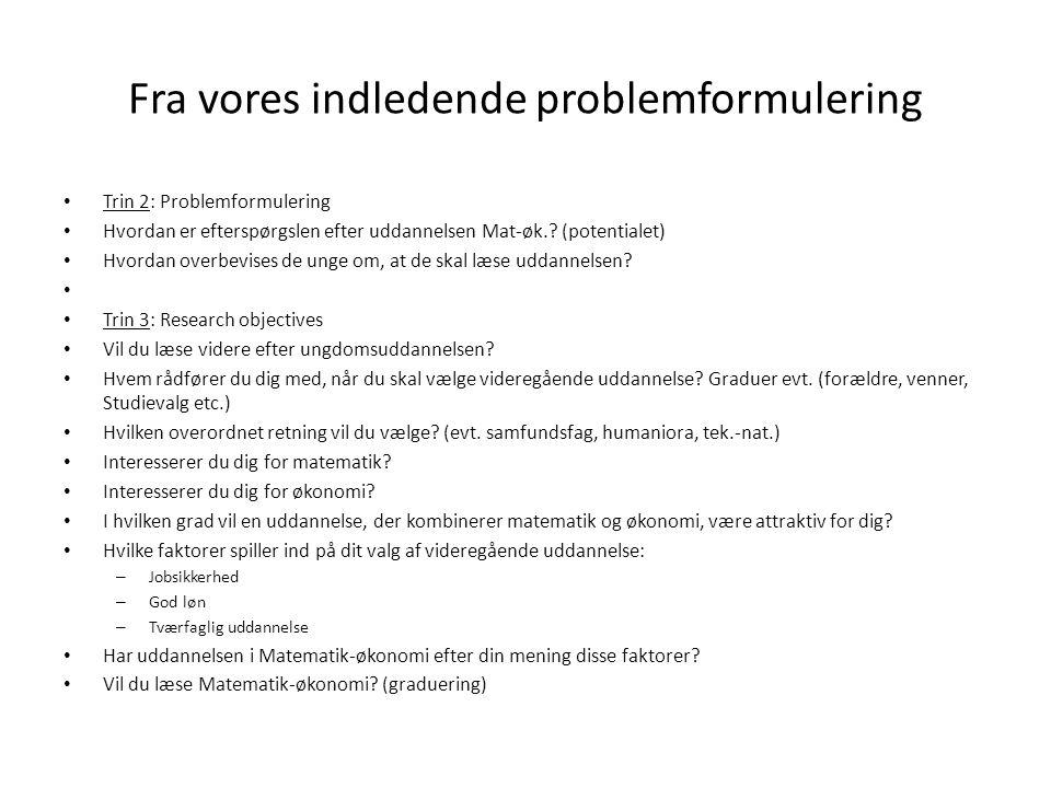 Fra vores indledende problemformulering Trin 2: Problemformulering Hvordan er efterspørgslen efter uddannelsen Mat-øk..