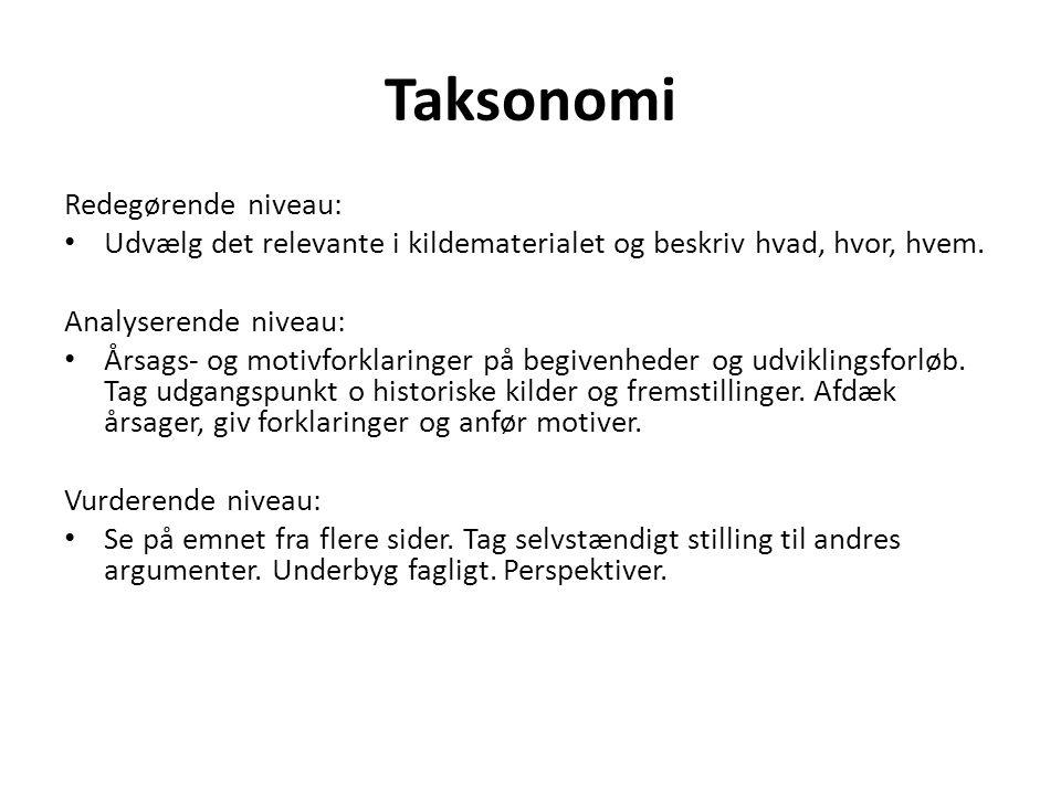 Taksonomi Redegørende niveau: Udvælg det relevante i kildematerialet og beskriv hvad, hvor, hvem.