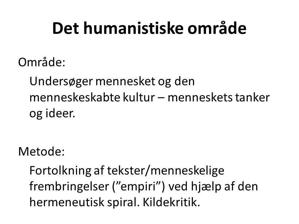 Det humanistiske område Område: Undersøger mennesket og den menneskeskabte kultur – menneskets tanker og ideer.
