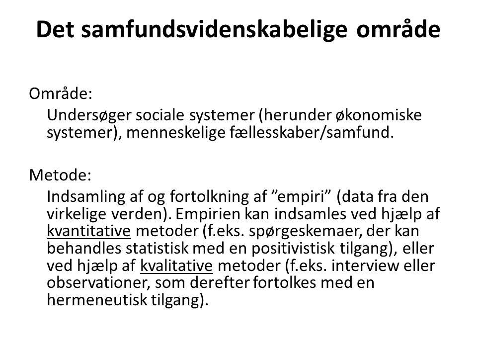 Det samfundsvidenskabelige område Område: Undersøger sociale systemer (herunder økonomiske systemer), menneskelige fællesskaber/samfund.