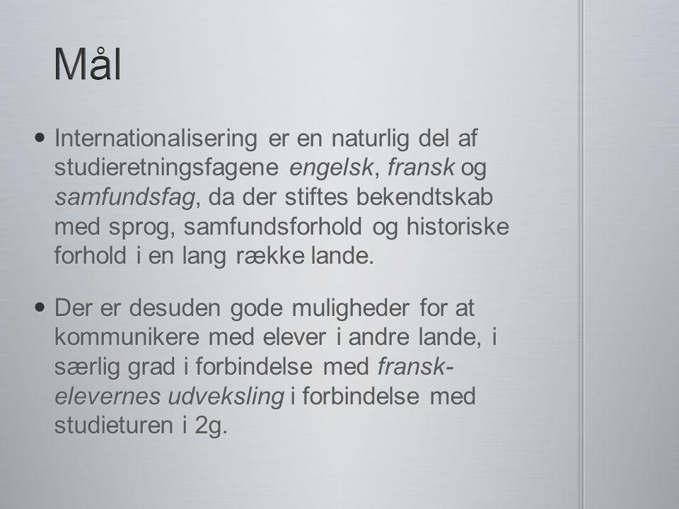 Internationalisering er en naturlig del af studieretningsfagene engelsk, fransk og samfundsfag, da der stiftes bekendtskab med sprog, samfundsforhold og historiske forhold i en lang række lande.