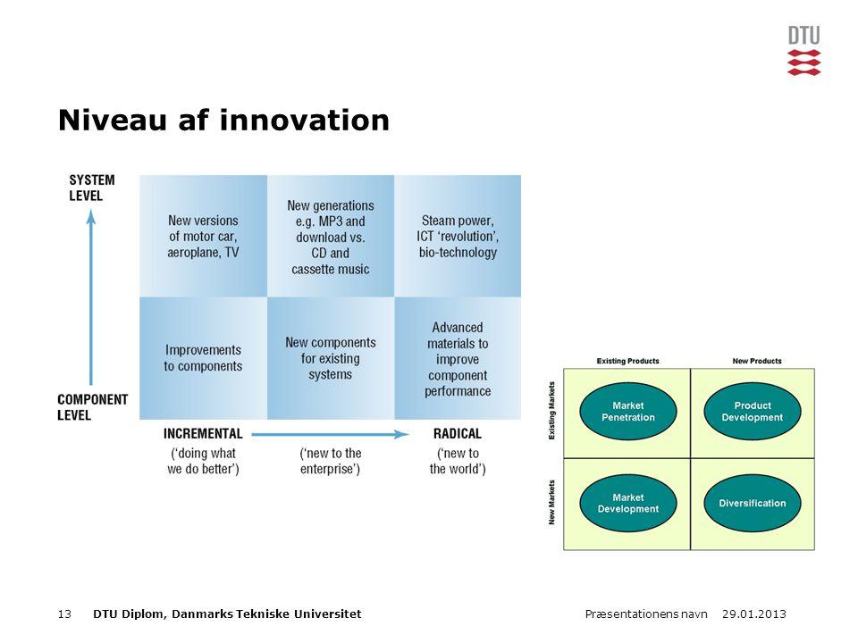 29.01.2013Præsentationens navn13DTU Diplom, Danmarks Tekniske Universitet Niveau af innovation