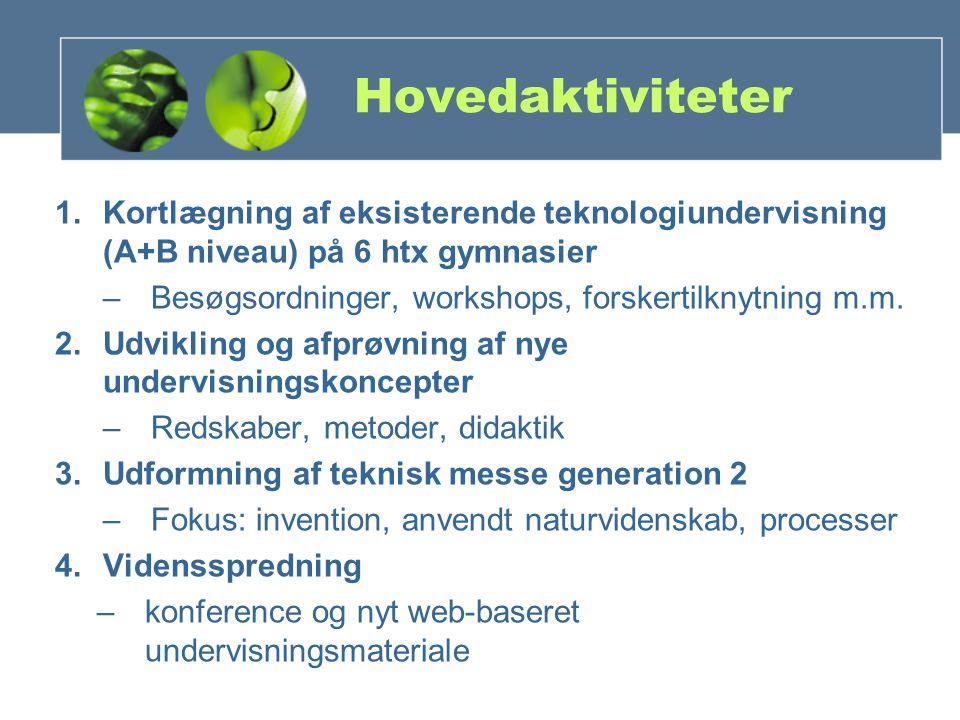 Hovedaktiviteter 1.Kortlægning af eksisterende teknologiundervisning (A+B niveau) på 6 htx gymnasier –Besøgsordninger, workshops, forskertilknytning m.m.