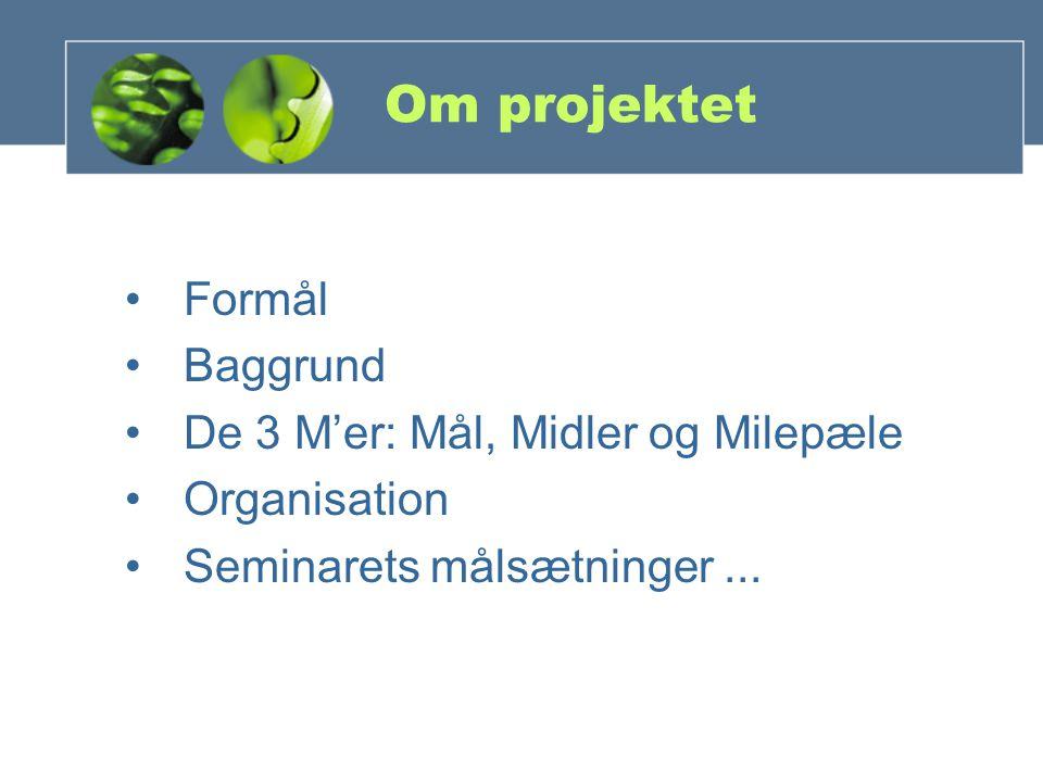 Om projektet Formål Baggrund De 3 M'er: Mål, Midler og Milepæle Organisation Seminarets målsætninger...