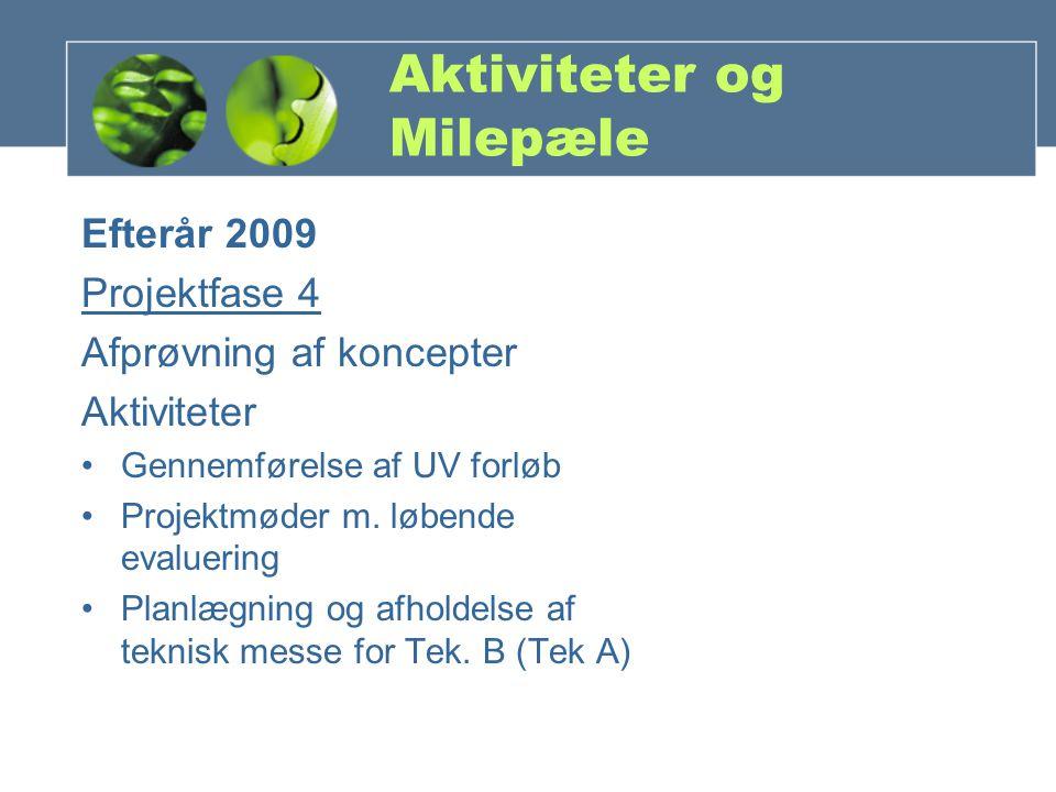Aktiviteter og Milepæle Efterår 2009 Projektfase 4 Afprøvning af koncepter Aktiviteter Gennemførelse af UV forløb Projektmøder m.