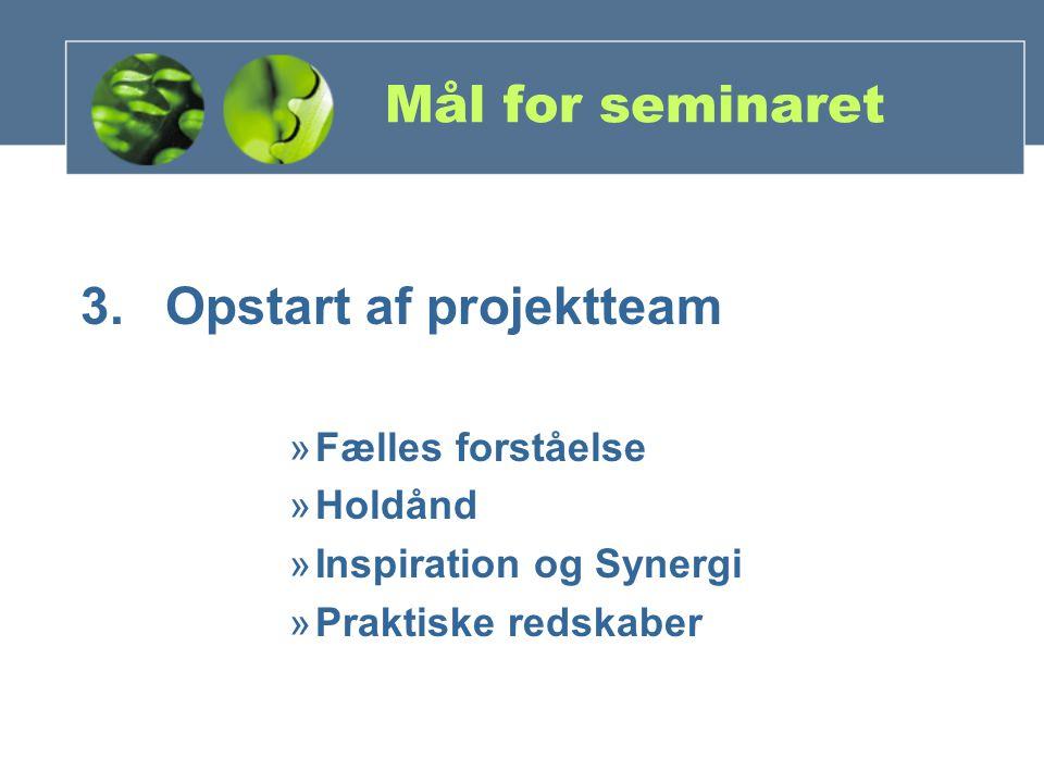 Mål for seminaret 3.Opstart af projektteam »Fælles forståelse »Holdånd »Inspiration og Synergi »Praktiske redskaber