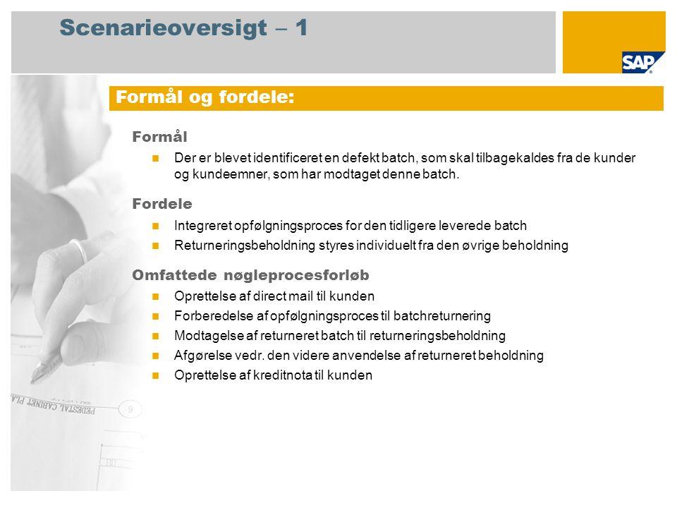 Scenarieoversigt – 1 Formål Der er blevet identificeret en defekt batch, som skal tilbagekaldes fra de kunder og kundeemner, som har modtaget denne batch.