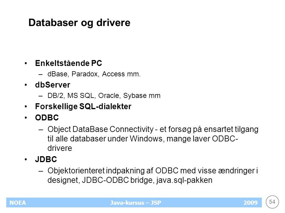54 NOEA2009Java-kursus – JSP Databaser og drivere Enkeltstående PC –dBase, Paradox, Access mm.